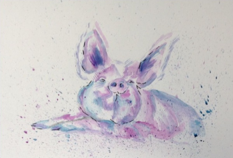 This Little Piggy, 15x11 inch watercolour mounted ready to frame - Image 0