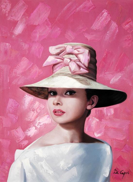"""Audrey Hepburn Portrait """" Audrey Hepburn is cute in a pink hat"""" - Image 0"""