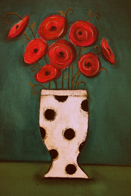 Red Poppies in a Polkadot Vase.., - Image 0