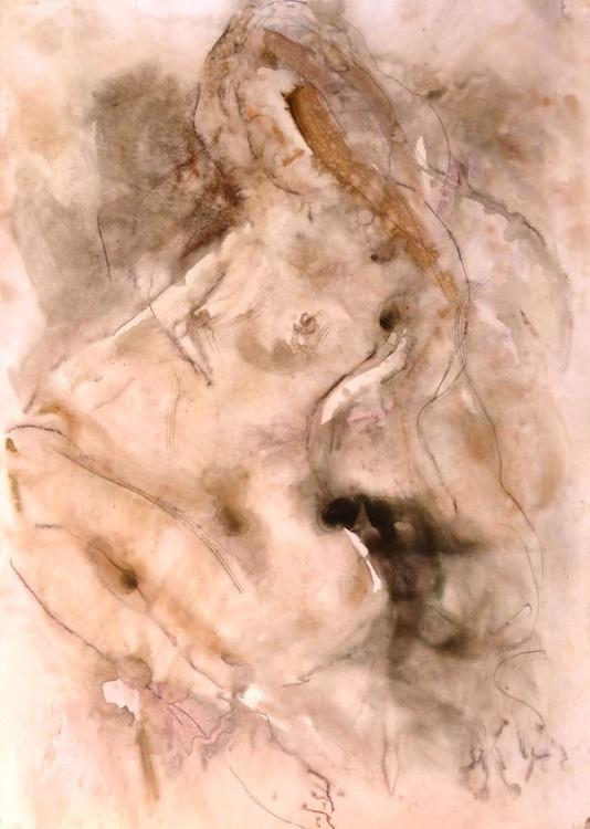 Nude. original watercolor. 61x86 cm. unframed - Image 0