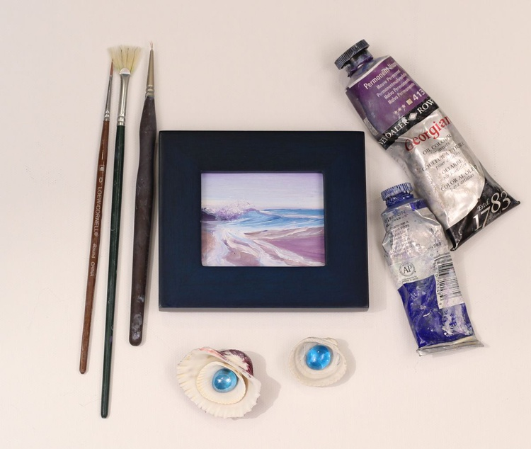 Ocean Waves XXXI small framed wave oil painting - Image 0