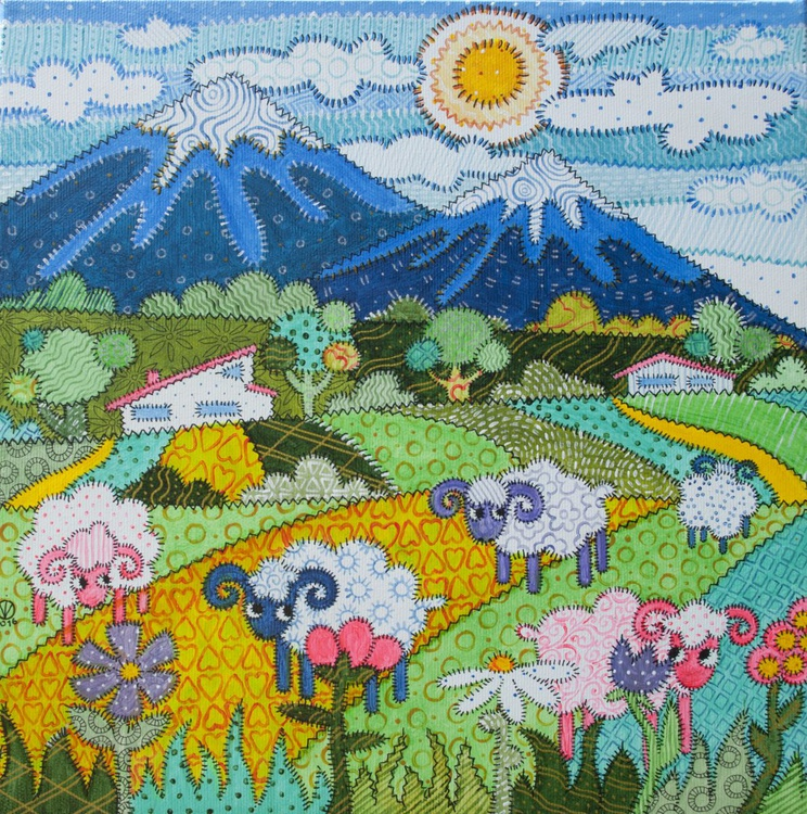 Blue Mountains (30X30cm)- LANDSCAPE decorative PRETTY RURAL gift SMALL SIZE gift for baby GIFT IDEA patchwork BRIGHT home decor WALL DECOR FOR KIDS ROOM - Image 0