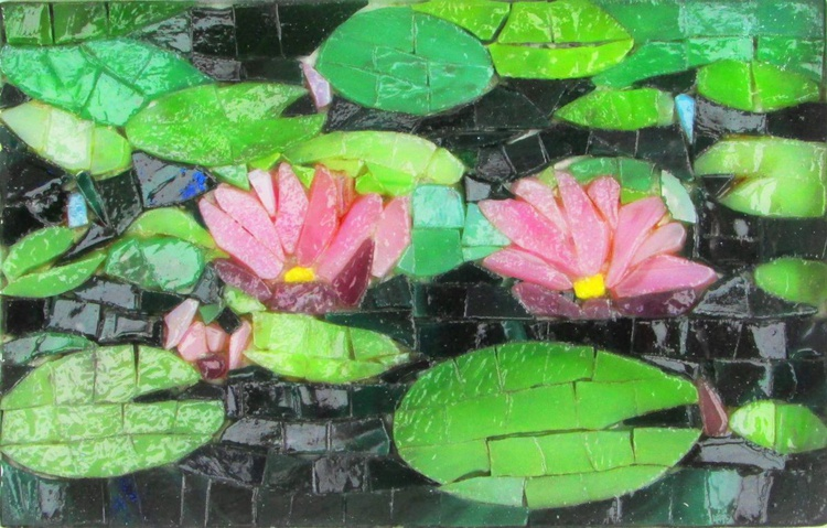 Water Lilies in a Pond (stained glass mosaic) - Image 0