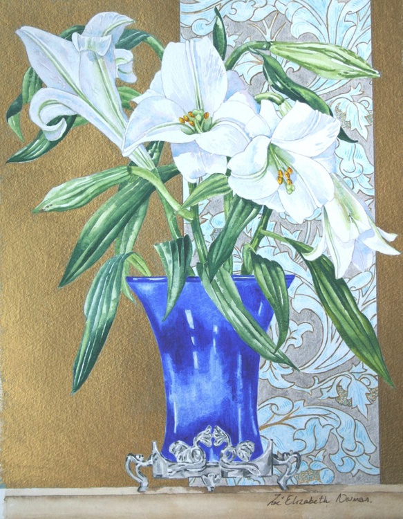 Art Nouveau Vase of Lilies - Image 0