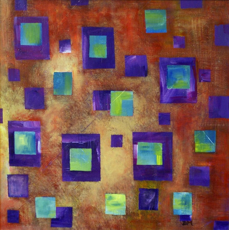 Purple Squared 50 x 50 cm /20 x  20 ins,  acrylic abstract on canvas board - Image 0