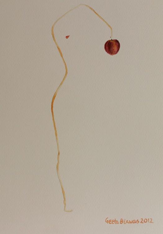 Eve's Apple watercolor conceptual art - Image 0