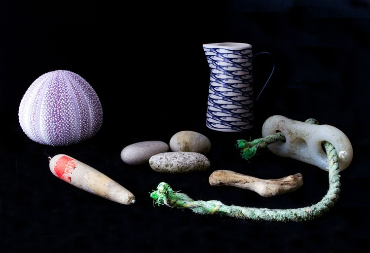 Still Life with urchins, floats, sardines and silver. - Image 0
