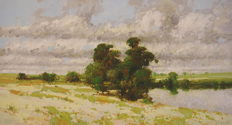 Meadow Traditional Landscape Hand painted Oil on Canvas One of a kind Large Size - Image 0