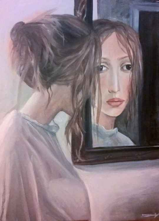 Girl in front of a mirror