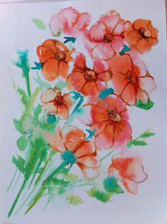 Orange Floral -