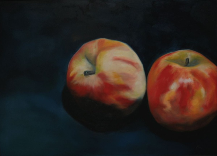 Two Apples (ii) Still Life Original Oil Painting Ready to Hang - Image 0