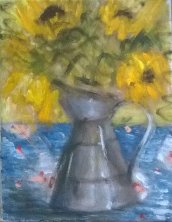 Sunflowers in a Metal Jug - Image 0