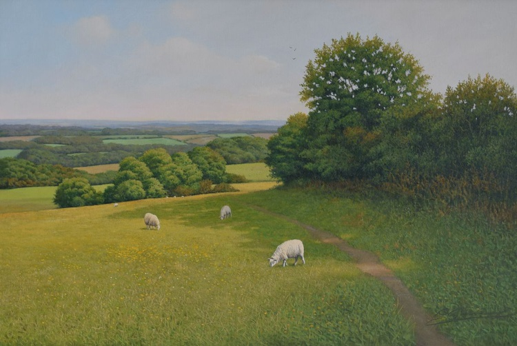 """PLEASANT LAND"" Photorealism Cotswold landscape oil painting - Image 0"