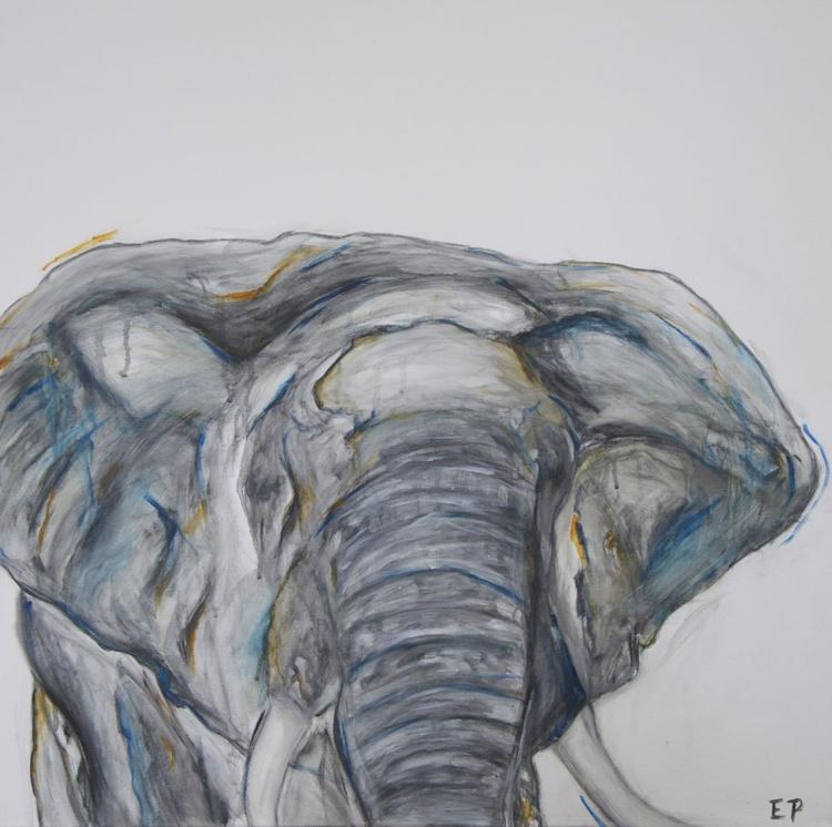 Elephant with Blue and Orange - Image 0