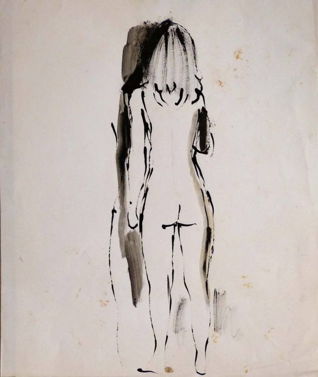 Standing Nude from the back 46x38cm - Image 0