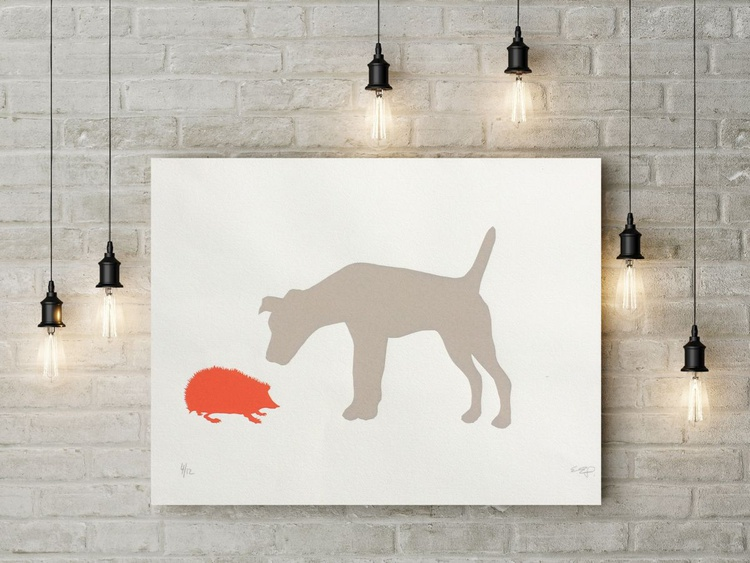 TERRIER AND HEDGEHOG-unframed- FREE WORLDWIDE DELIVERY - Image 0