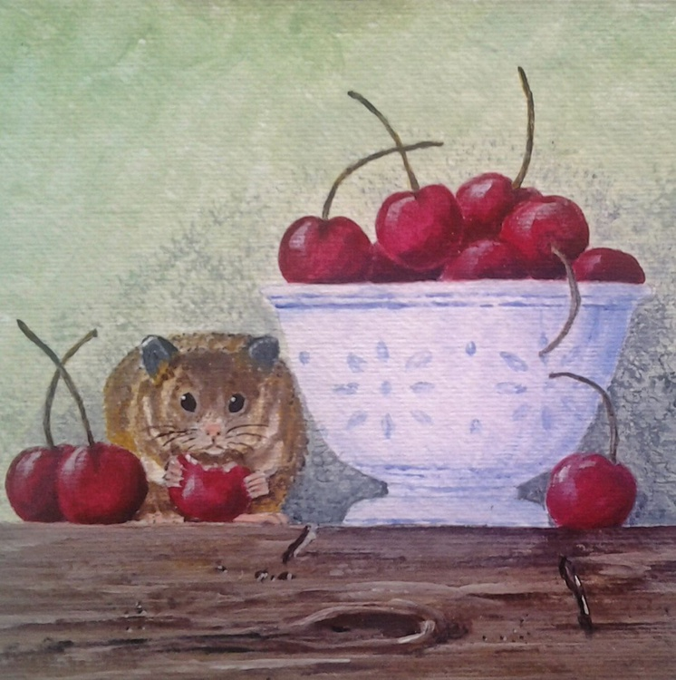 """""""OF CHERRIES AND A HAMSTER"""", still-life ready to hang - Image 0"""