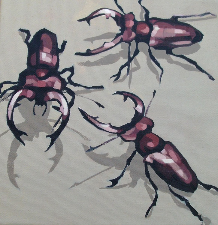 Three Stag Beetles - Image 0