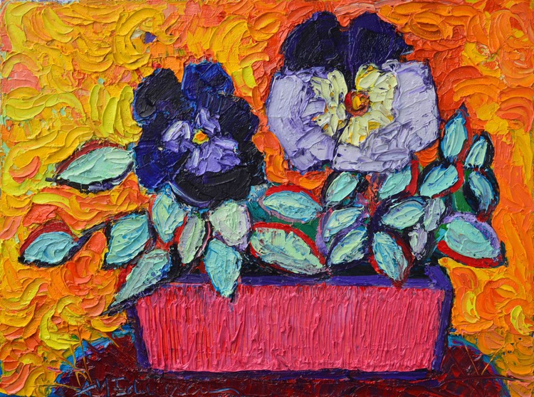 PANSIES LOVE - abstract contemporary impressionist floral original palette knife oil painting - Image 0