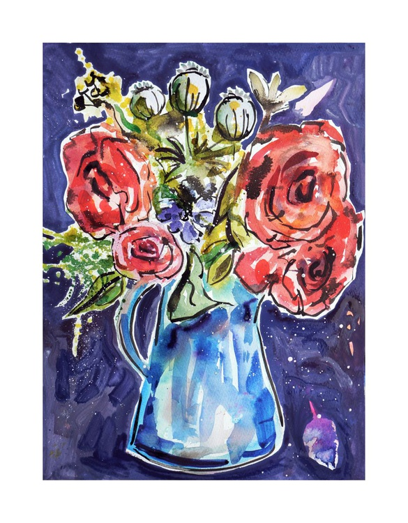 Red Roses in a Blue Jug - Image 0