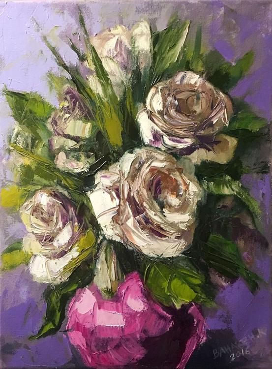 White Roses on Purple - Image 0
