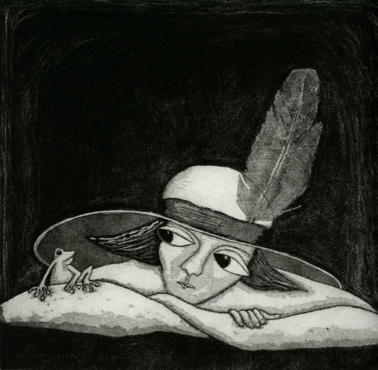 Feather in My Hat, aquatint etching - Image 0