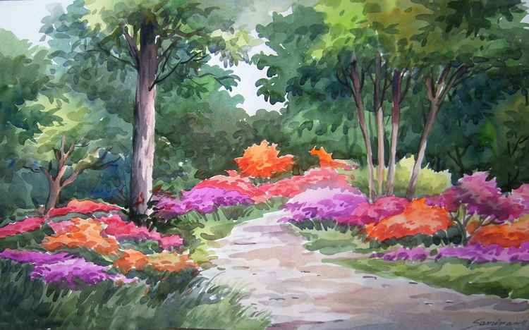 Beauty of Flowers Garden inside a Forest - Watercolor on Paper -
