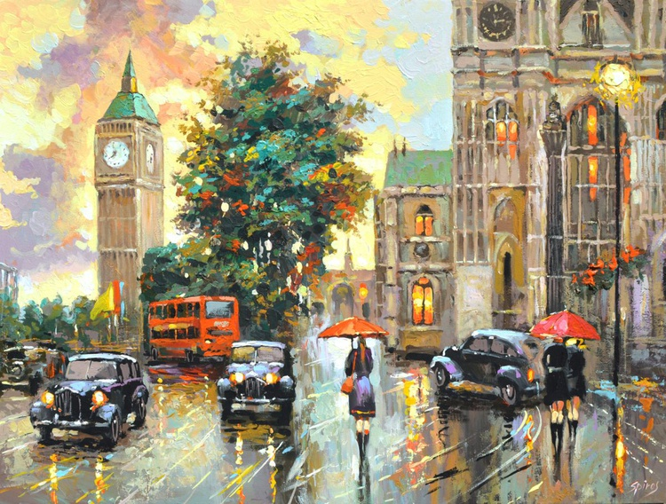 Evening London by Dmitry Spiros. Size 70 x 90 cm, (28 x 36 in). - Image 0