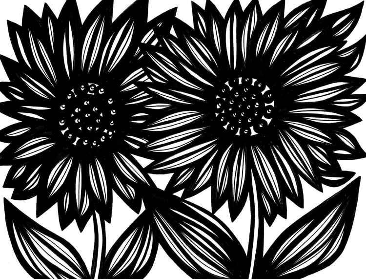 Two Flowers Botanical Original Drawing -