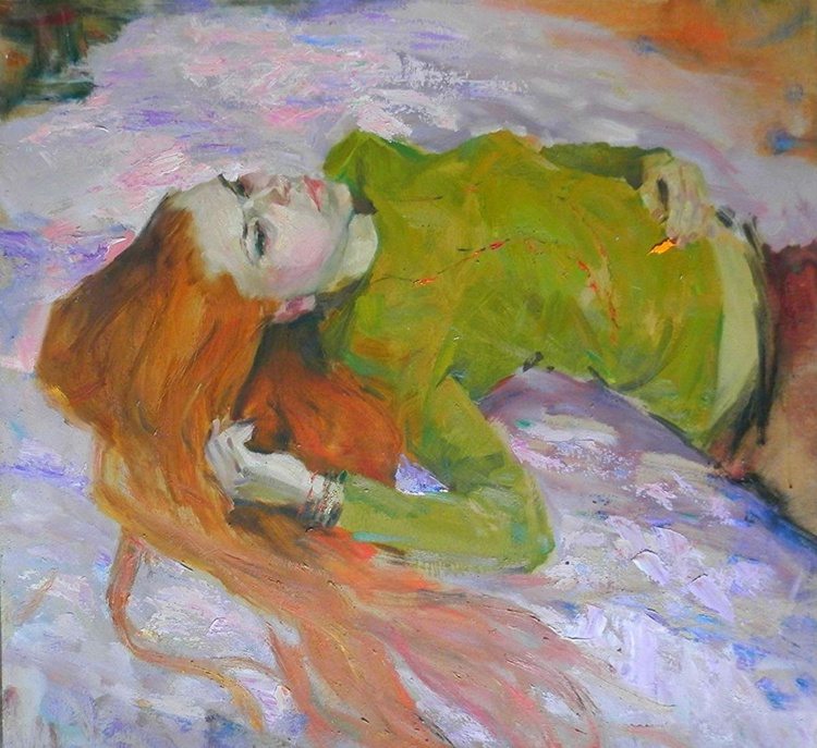 Girl lying, large oil painting, 91x98 cm - Image 0