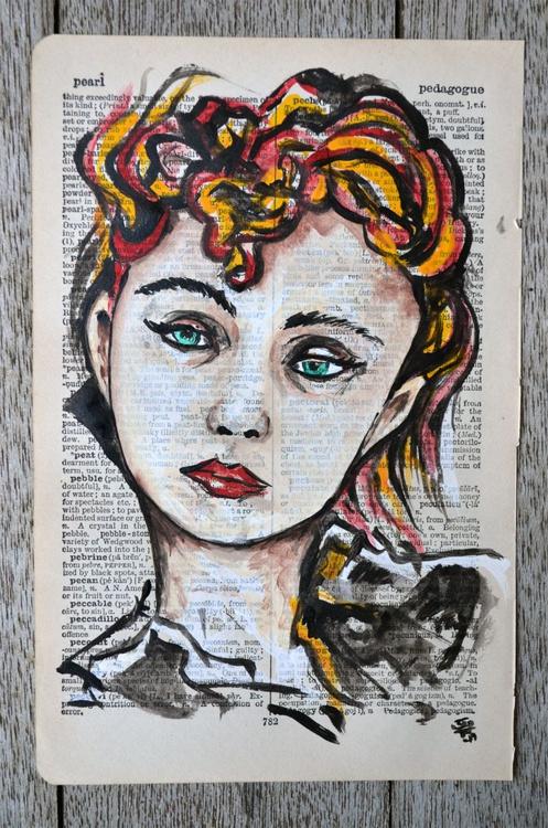 Sad Girl - Art Painting On Vintage Paper - Image 0
