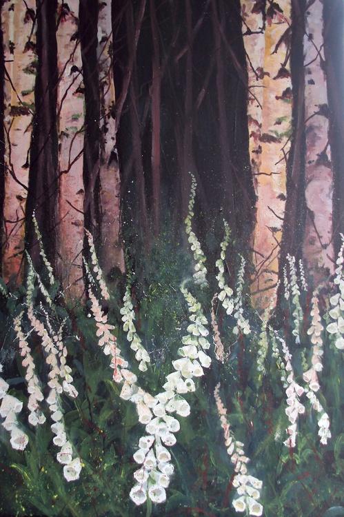 Silver Birches White Foxgloves - Image 0