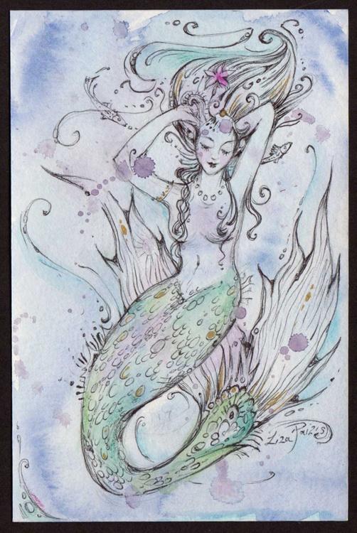 Mermaid watercolour miniature mermaid painting - Image 0