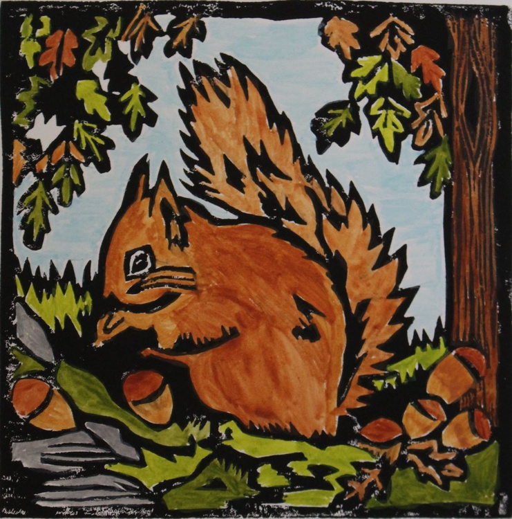 Red squirrel lino print - Image 0