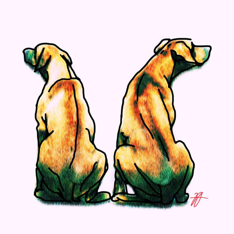 """Dogs 01 - Small - Print on Forex Board - One of a Kind Artwork - 11.81 x 11.81"""" - Image 0"""