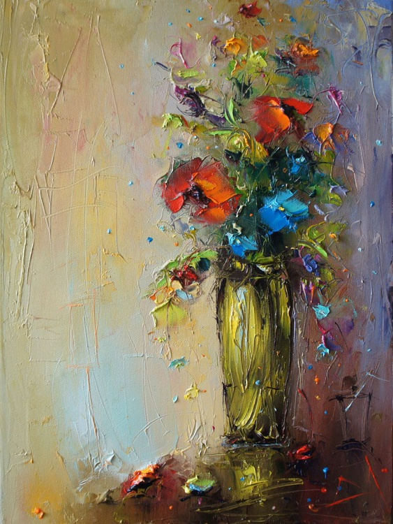 Wild flowers with vase, palette knife flowers painting, free shipping - Image 0