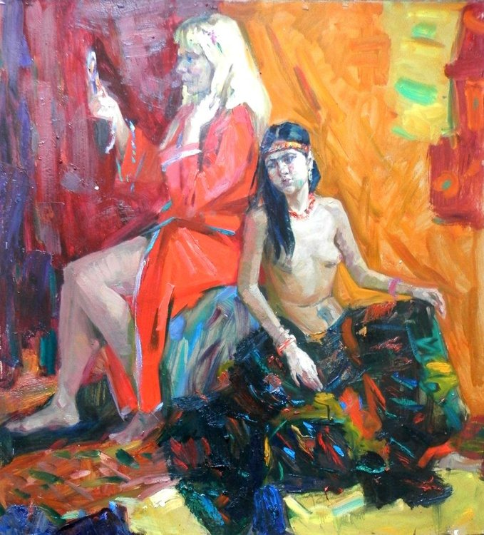 Light my mirror tell me ..., large oil painting, 90x98 cm - Image 0
