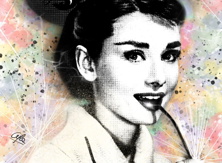 Audrey Hepburn | 2012 | Digital Painting on Paper | High Quality | Limited Edition of 10 | Simone Morana Cyla | 40 X 30 cm | - Image 0