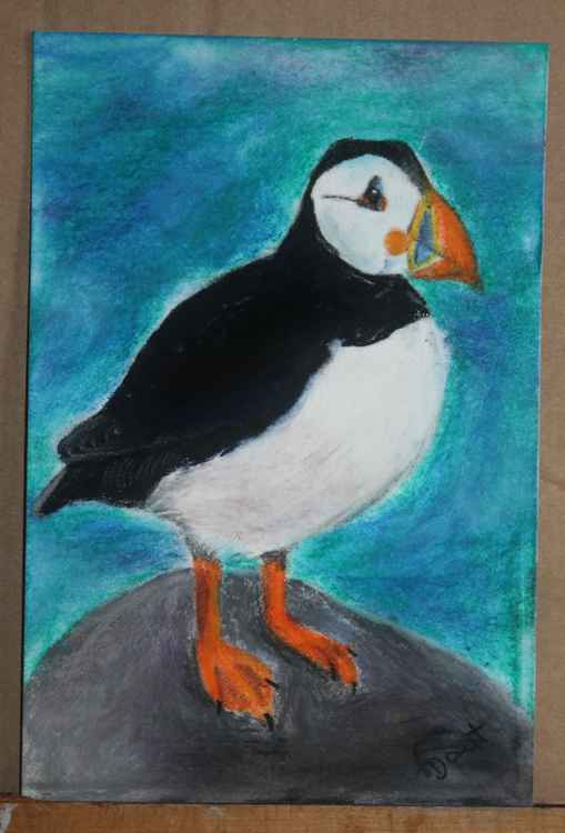 Puffin to the Top, pastel postcard art