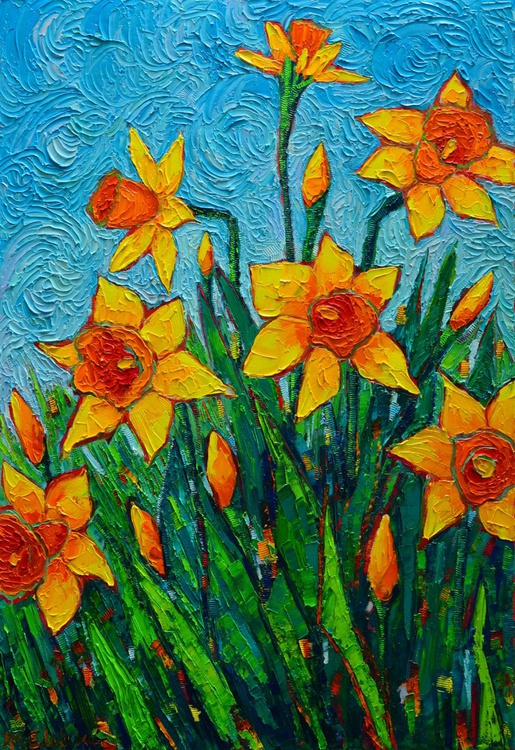 DANCING DAFFODILS 80X55cm -spring flowers modern impressionist palette knife oil painting - Image 0