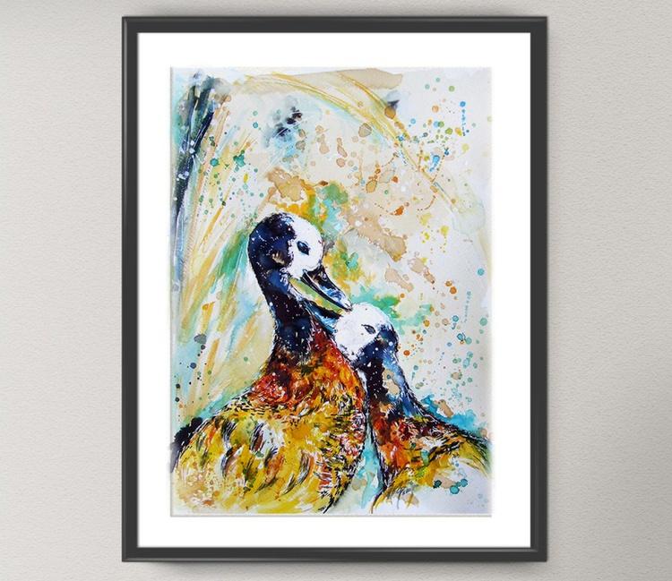 Original Watercolour painting of Birds Love - Image 0