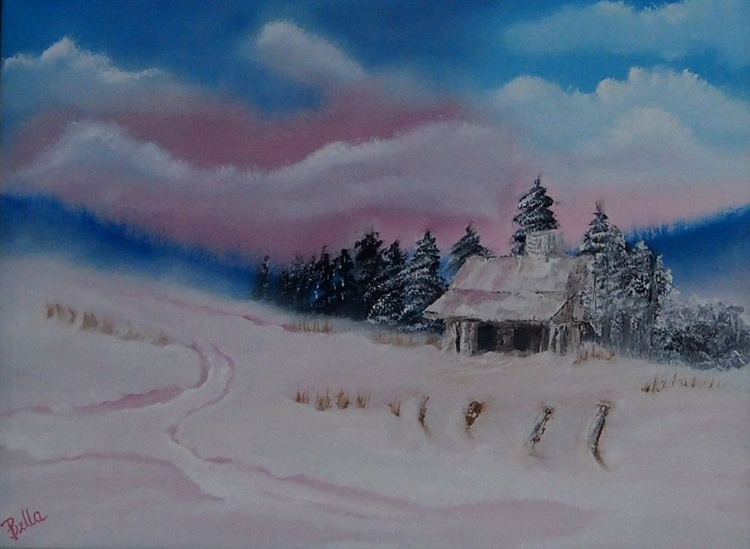 Cabin on pink snow valley - Image 0