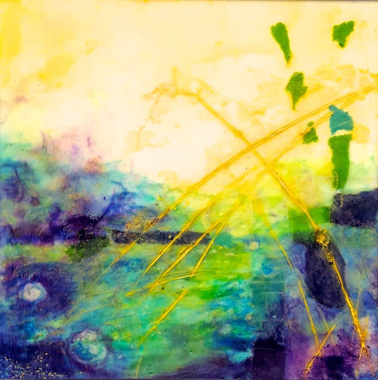 """""""First Light"""" Encaustic painting 8""""x 8"""" - Image 0"""