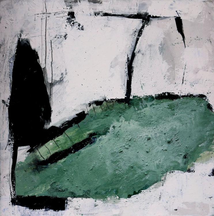 Vernagt I | large square abstract Landscape | 100x100cm | mint teal turquoise white black - Image 0