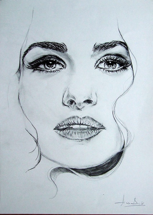 Original Drawing in Pencil of Rachel Weisz - Image 0
