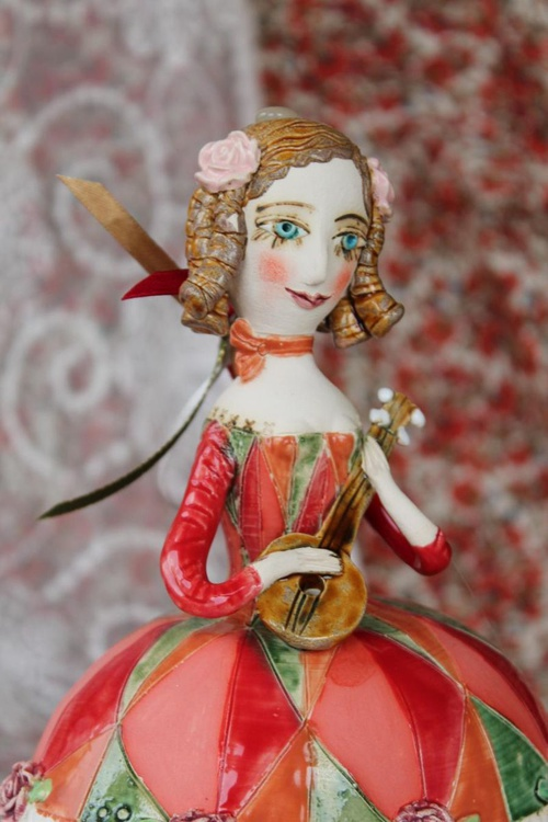 Girl with a mandolin. Sculptured bell-doll - Image 0