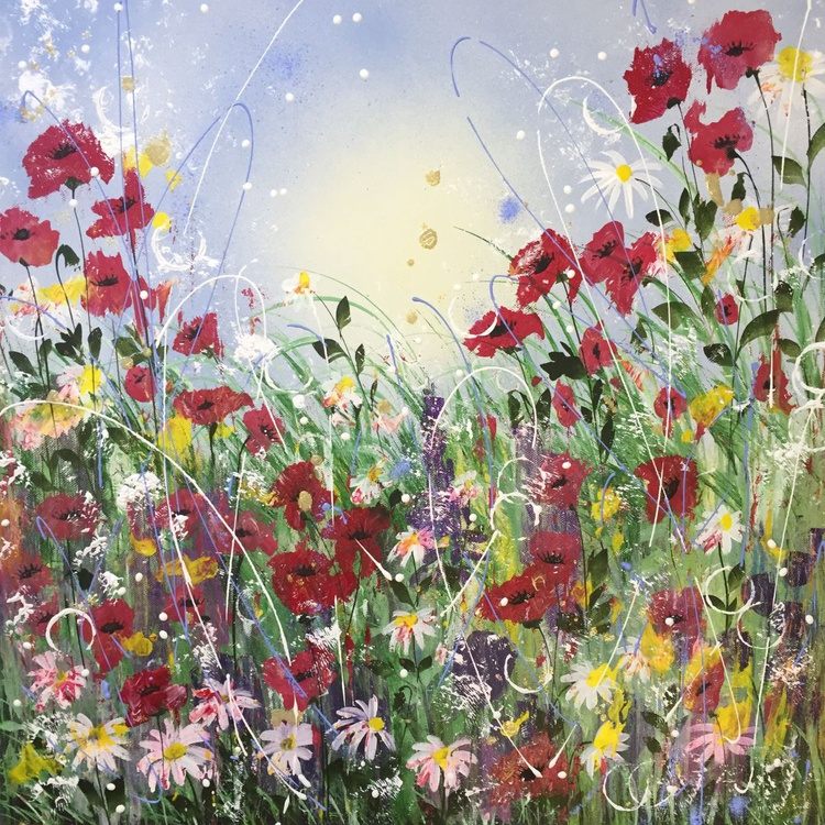 Red poppy and daisy sparkle - Image 0