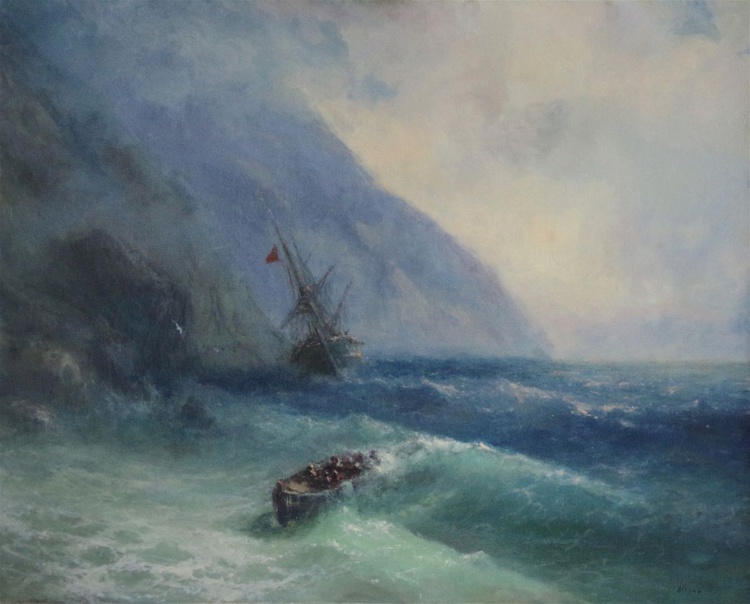 Seascape, Large size, Antique Style,  Original oil Painting, Handmade art, Museum Quality, Signed, One of a Kind - Image 0