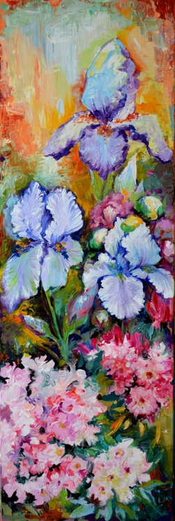 Iris, Rhododendron and Peony Field 120x40 cm FREE SHIPPING for Europe - Big, Large Modern Ready to Hang Painting - Flower Acrylic Painting, Floral painting - Image 0