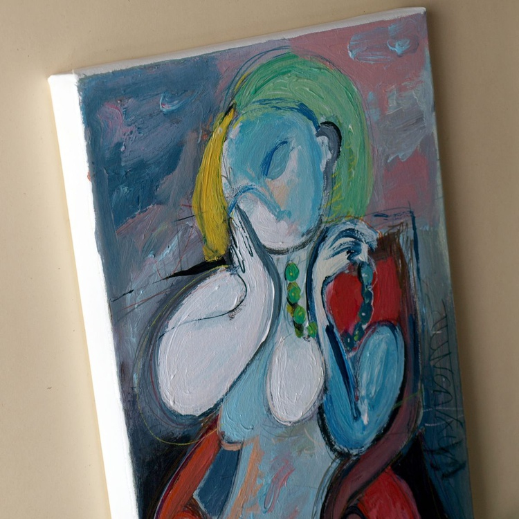 Nude woman sitting in a red armchair (Inspired by Picasso) - Image 0